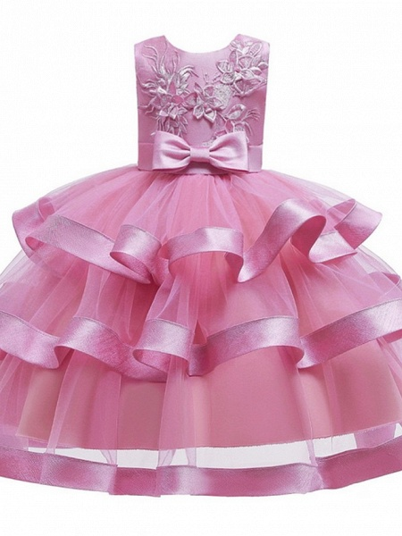 Princess / Ball Gown Knee Length Wedding / Party Flower Girl Dresses - Tulle Sleeveless Jewel Neck With Sash / Ribbon / Bow(S) / Tier_8