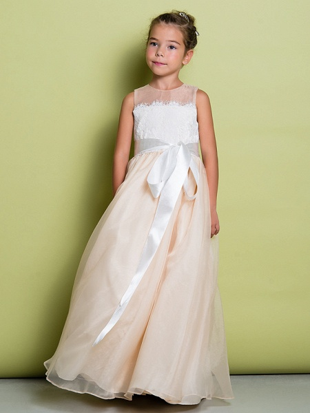 A-Line Floor Length Lace / Organza Sleeveless Jewel Neck With Lace_3