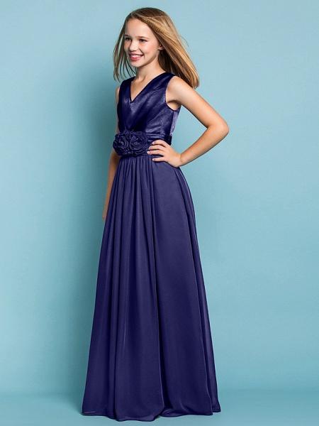 Sheath / Column V Neck Floor Length Chiffon Junior Bridesmaid Dress With Flower / Spring / Summer / Fall / Apple / Hourglass_46