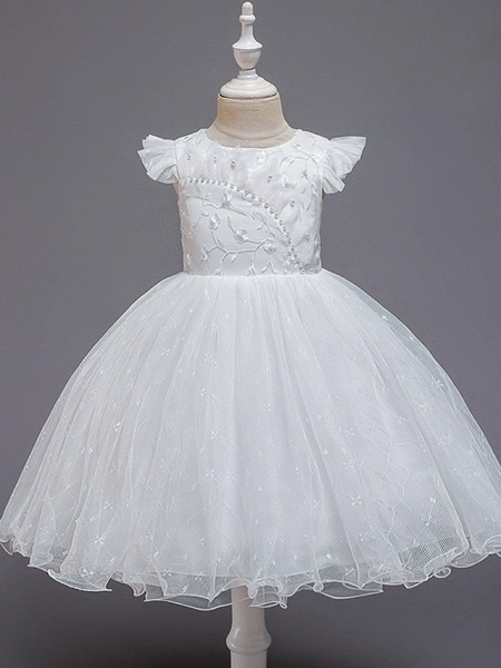 Princess / Ball Gown Knee Length Wedding / Party Flower Girl Dresses - Tulle Cap Sleeve Jewel Neck With Bow(S) / Embroidery_8