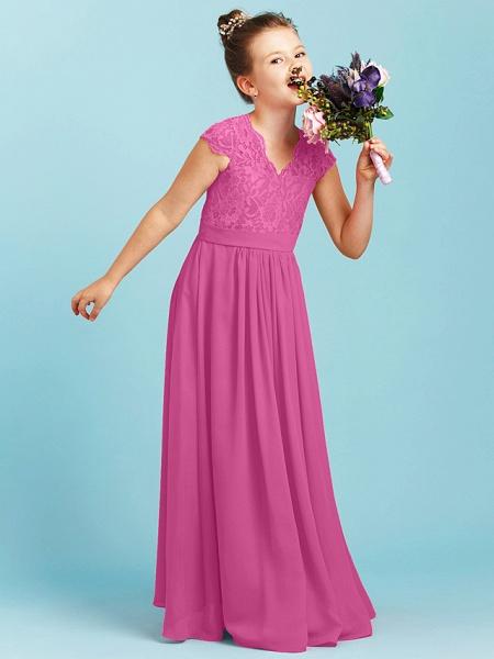 Princess / A-Line V Neck Floor Length Chiffon / Lace Junior Bridesmaid Dress With Sash / Ribbon / Pleats / Wedding Party_25