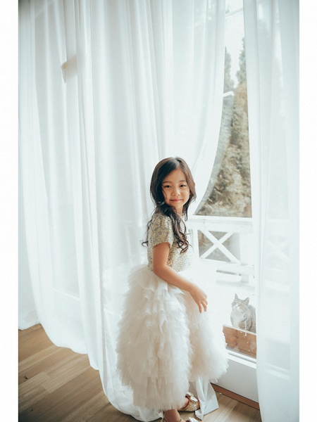 Ball Gown Ankle Length Wedding / Birthday / Pageant Flower Girl Dresses - Tulle / Sequined Short Sleeve Jewel Neck With Paillette_6