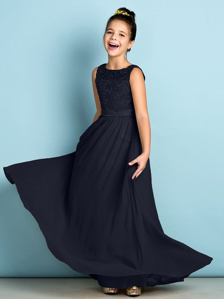 A-Line Scoop Neck Floor Length Chiffon / Lace Junior Bridesmaid Dress With Lace / Natural / Mini Me_37
