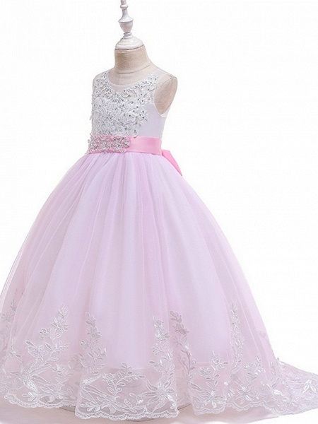 Princess / Ball Gown Court Train Wedding / Party Flower Girl Dresses - Tulle Sleeveless Jewel Neck With Bow(S) / Beading / Appliques_9