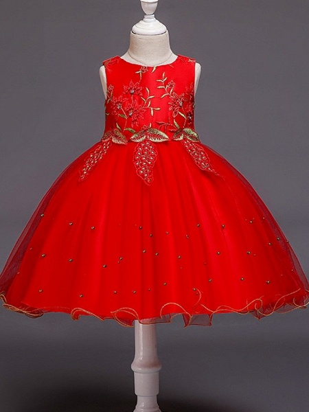 Ball Gown Knee Length Wedding / Party Flower Girl Dresses - Tulle Sleeveless Jewel Neck With Bow(S) / Beading / Appliques_2