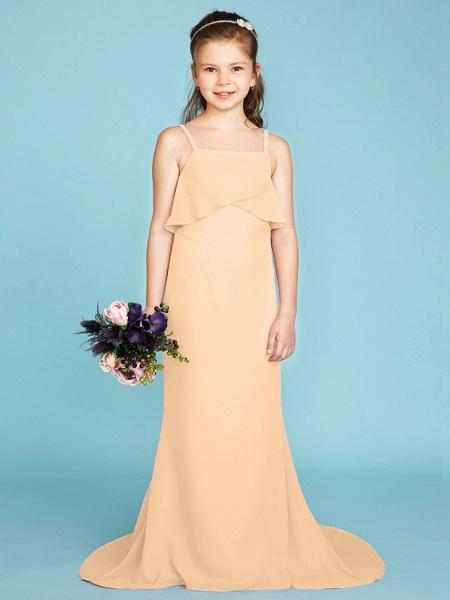 Sheath / Column Spaghetti Strap Sweep / Brush Train Chiffon Junior Bridesmaid Dress With Tiered / Wedding Party / Open Back_16