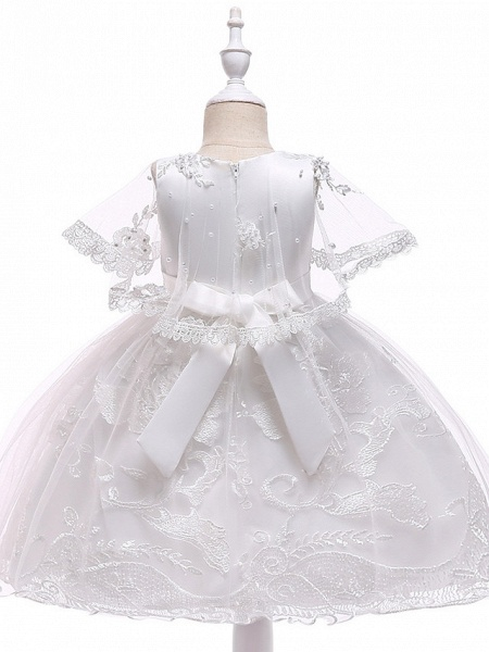 Princess Medium Length Wedding / First Communion Flower Girl Dresses - Lace / Tulle / Mikado Sleeveless Jewel Neck With Pearls / Appliques / Bandage_2