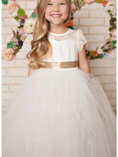 A-Line Floor Length Wedding / Party Flower Girl Dresses - Lace / Satin / Tulle Cap Sleeve Jewel Neck With Solid