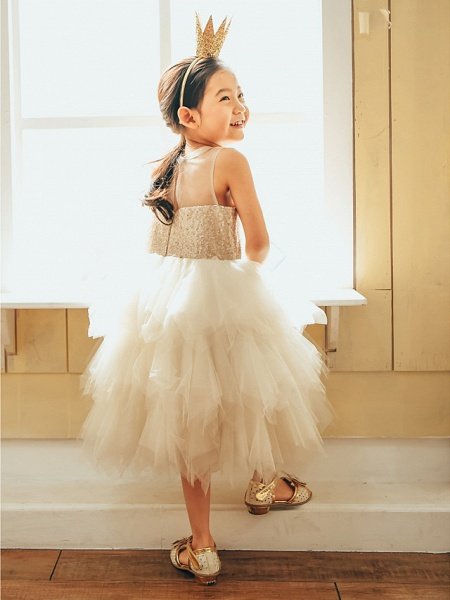 Ball Gown Knee Length Wedding / First Communion / Birthday Flower Girl Dresses - Tulle / Sequined Sleeveless Jewel Neck With Paillette_2