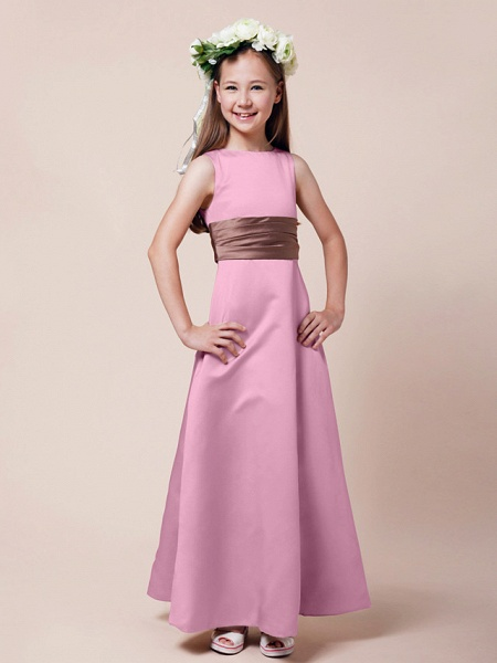 Princess / A-Line Bateau Neck Floor Length Satin Junior Bridesmaid Dress With Sash / Ribbon / Ruched / Spring / Summer / Fall / Winter / Apple_8