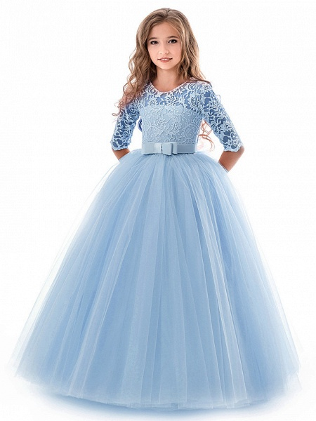 Princess Long Length Wedding / Party / Pageant Flower Girl Dresses - Lace / Tulle Half Sleeve Jewel Neck With Lace / Belt_19