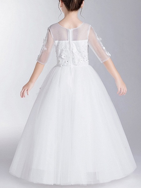 Ball Gown Floor Length First Communion Flower Girl Dresses - Polyester Half Sleeve Jewel Neck With Appliques_5