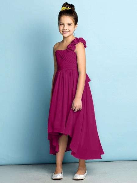 A-Line One Shoulder Asymmetrical Chiffon Junior Bridesmaid Dress With Criss Cross / Flower / Natural / Mini Me_44