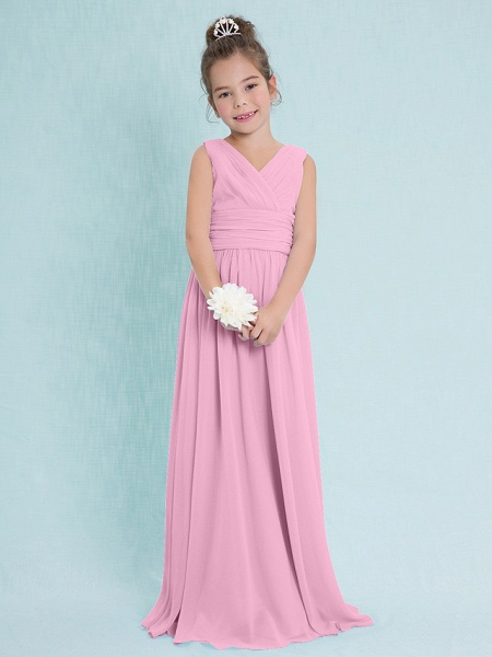 Sheath / Column V Neck Floor Length Chiffon Junior Bridesmaid Dress With Criss Cross / Ruched / Natural_10