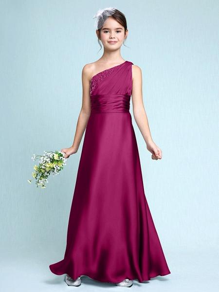 Sheath / Column One Shoulder Floor Length Chiffon Satin Junior Bridesmaid Dress With Ruched / Side Draping / Natural_42