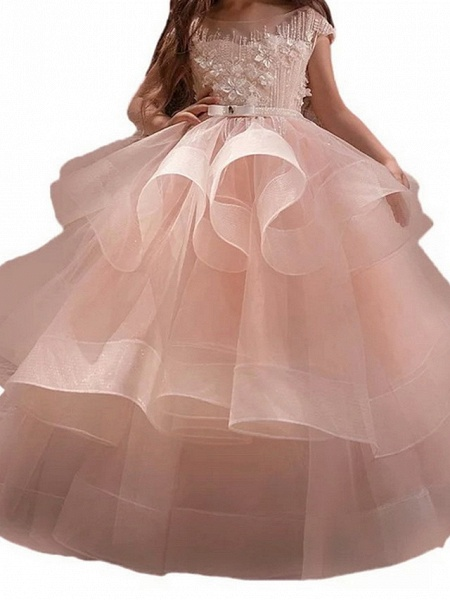 Princess Maxi Pageant Flower Girl Dresses - Polyester Sleeveless Jewel Neck With Bow(S) / Embroidery_3
