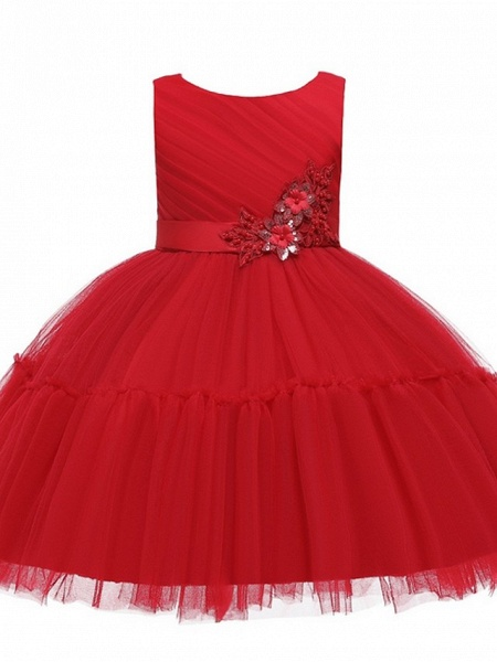 Princess / Ball Gown Knee Length Wedding / Party Flower Girl Dresses - Tulle Sleeveless Jewel Neck With Sash / Ribbon / Bow(S) / Appliques_5