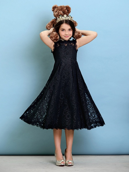 Princess / A-Line Jewel Neck Tea Length Lace Junior Bridesmaid Dress With Pleats / Natural_3