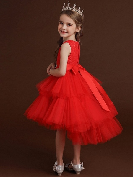 Princess / Ball Gown Asymmetrical Wedding / Party Flower Girl Dresses - Lace / Tulle Sleeveless Jewel Neck With Belt / Bow(S) / Tier_4