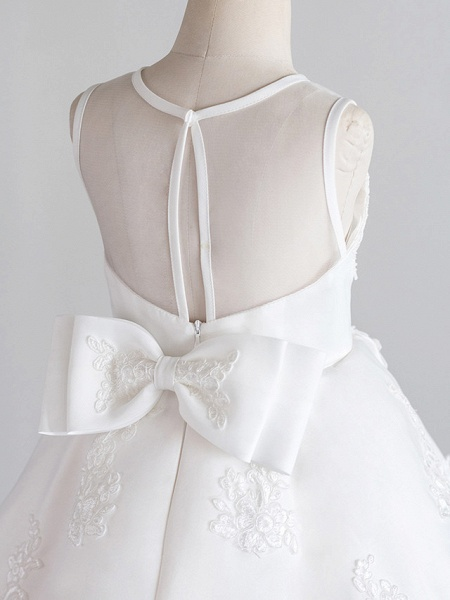Princess Knee Length Wedding / First Communion / Birthday Flower Girl Dresses - Satin / Tulle Sleeveless Jewel Neck With Bows / Appliques_4