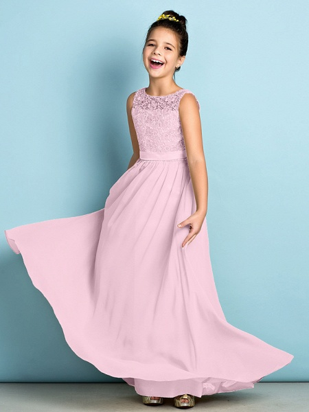 A-Line Scoop Neck Floor Length Chiffon / Lace Junior Bridesmaid Dress With Lace / Natural / Mini Me_11