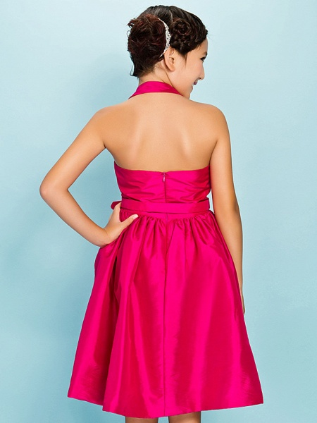 Princess / Ball Gown Halter Neck Knee Length Taffeta Junior Bridesmaid Dress With Sash / Ribbon / Draping / Crystal Brooch / Spring / Summer / Fall / Apple / Hourglass_7