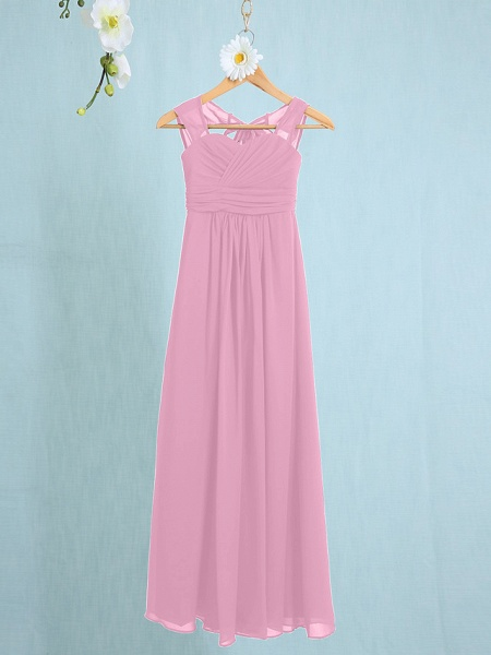 Sheath / Column Straps Ankle Length Chiffon Junior Bridesmaid Dress With Ruched / Natural_8