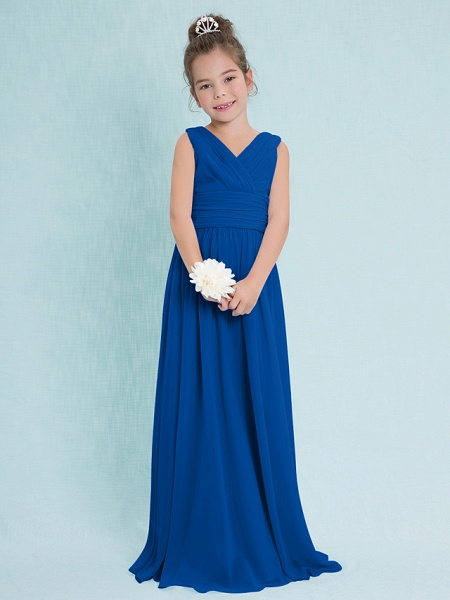 Sheath / Column V Neck Floor Length Chiffon Junior Bridesmaid Dress With Criss Cross / Ruched / Natural_33