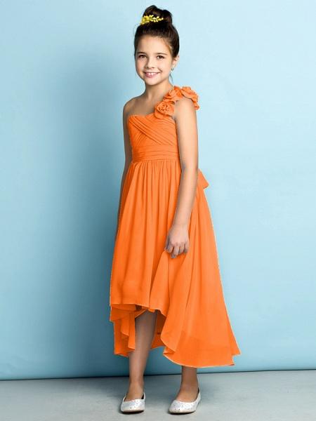 A-Line One Shoulder Asymmetrical Chiffon Junior Bridesmaid Dress With Criss Cross / Flower / Natural / Mini Me_19