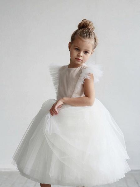 Princess / Ball Gown Tea Length / Medium Length Wedding / Party Flower Girl Dresses - Tulle Short Sleeve Jewel Neck With Ruffles / Appliques_1