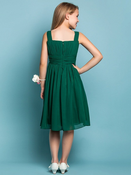 Sheath / Column Straps Knee Length Chiffon Junior Bridesmaid Dress With Ruched / Draping / Spring / Summer / Fall / Apple / Hourglass_4