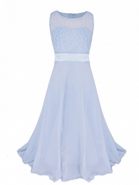 Princess / Ball Gown Maxi Party / Formal Evening / Pageant Flower Girl Dresses - Tulle / Poly&Cotton Blend Sleeveless Jewel Neck With Lace / Solid_1