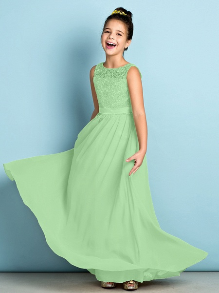 A-Line Scoop Neck Floor Length Chiffon / Lace Junior Bridesmaid Dress With Lace / Natural / Mini Me_30