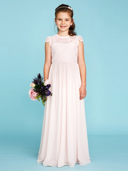 Princess / A-Line Crew Neck Floor Length Chiffon / Lace Junior Bridesmaid Dress With Buttons / Pleats / Wedding Party / See Through_4