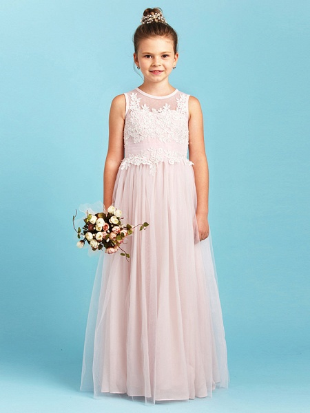 Princess / A-Line Jewel Neck Floor Length Tulle Junior Bridesmaid Dress With Pleats / Appliques / Wedding Party / See Through_4