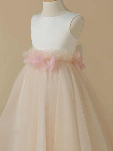 A-Line Tea Length Pageant Flower Girl Dresses - Satin / Tulle Sleeveless Jewel Neck With Bow(S) / Flower_4