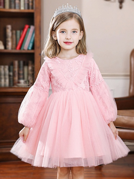Princess / Ball Gown Knee Length Wedding / Party Flower Girl Dresses - Tulle Long Sleeve Jewel Neck With Pleats / Splicing_1