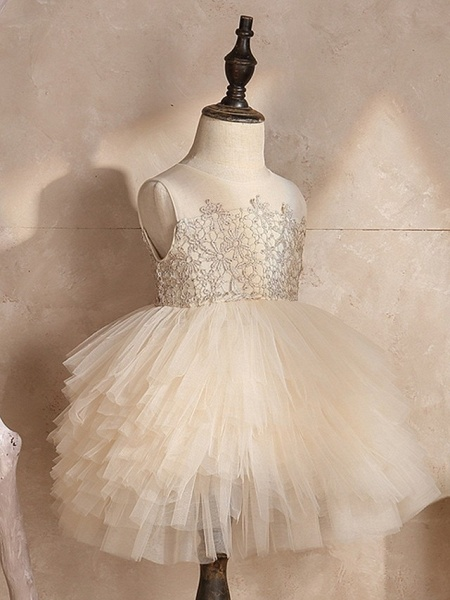 Ball Gown Knee Length Pageant Flower Girl Dresses - Polyester Sleeveless Jewel Neck With Pick Up Skirt / Appliques_4
