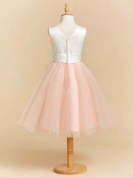Ball Gown Tea Length Wedding / Party / Pageant Flower Girl Dresses - Satin / Tulle Sleeveless V Neck With Sash / Ribbon / Crystals_2