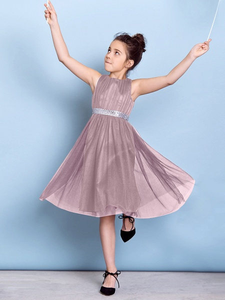 A-Line Jewel Neck Knee Length Tulle Junior Bridesmaid Dress With Sash / Ribbon / Sequin / Draping / Natural_23