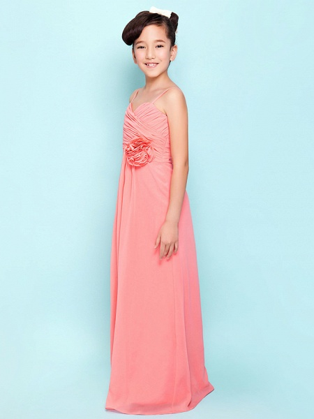 Sheath / Column Sweetheart Neckline / Spaghetti Strap Floor Length Chiffon Junior Bridesmaid Dress With Flower / Empire / Spring / Summer / Fall / Hourglass_3