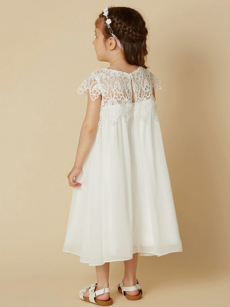 Sheath / Column Knee Length Wedding / First Communion / Holiday Flower Girl Dresses - Chiffon / Lace Short Sleeve Scoop Neck With Lace_2