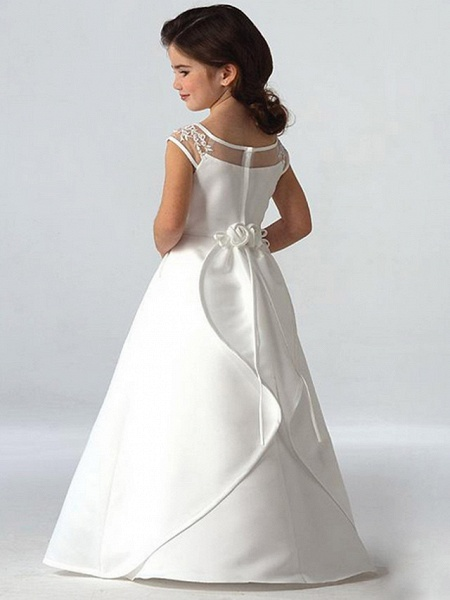 A-Line Floor Length Wedding / Party Flower Girl Dresses - Lace Sleeveless Jewel Neck With Beading_2