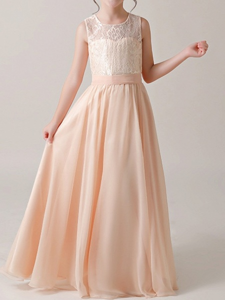 A-Line Floor Length Pageant Flower Girl Dresses - Cotton Sleeveless Jewel Neck With Lace / Sash / Ribbon_2