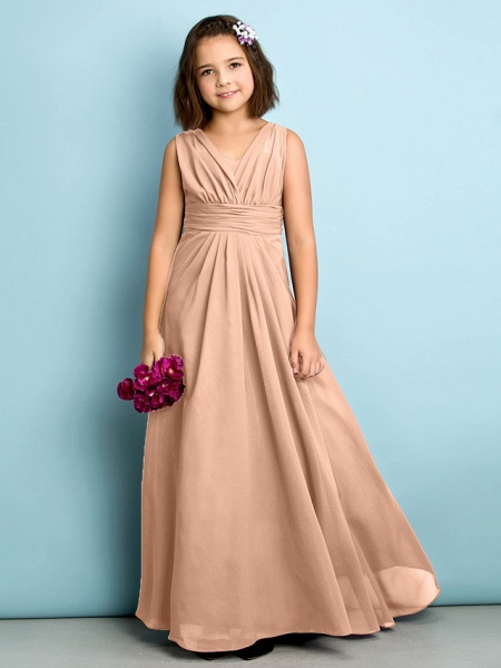 A-Line V Neck Floor Length Chiffon Junior Bridesmaid Dress With Criss Cross / Natural / Mini Me_11