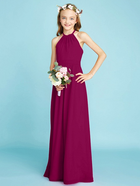 A-Line Halter Neck Floor Length Chiffon Junior Bridesmaid Dress With Sash / Ribbon / Natural_42