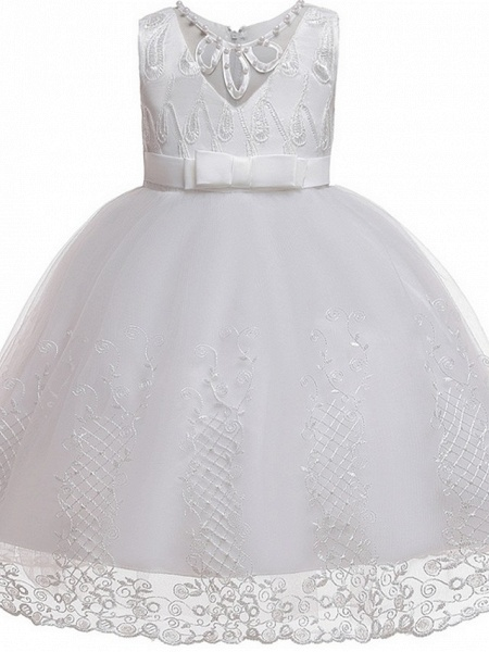 Princess / Ball Gown Knee Length Wedding / Party Flower Girl Dresses - Tulle Sleeveless Jewel Neck With Sash / Ribbon / Bow(S) / Beading_6