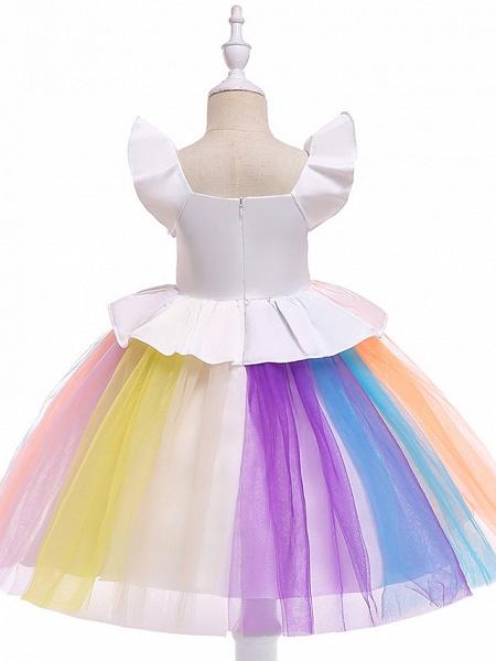 Princess Midi Party / Birthday / Pageant Flower Girl Dresses - Tulle Sleeveless Jewel Neck With Petal / Ruffles / Pattern / Print_2