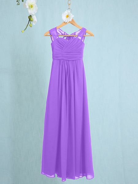 Sheath / Column Straps Ankle Length Chiffon Junior Bridesmaid Dress With Ruched / Natural_27