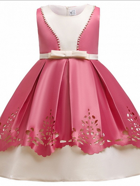 Ball Gown Ankle Length Pageant Flower Girl Dresses - Polyester Sleeveless Jewel Neck With Beading_1